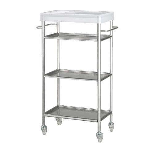 GRUNDTAL Cart   Easy to move around with the included casters.  Removable shelves which are easy to clean.
