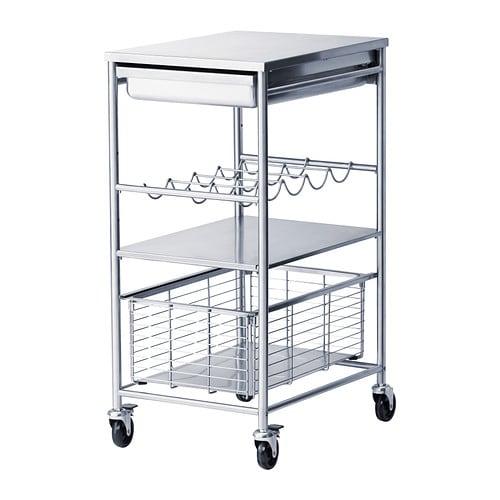 GRUNDTAL Kitchen cart, stainless steel