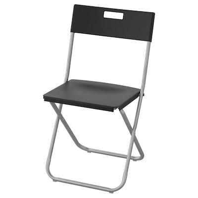 GUNDE Folding chair, black