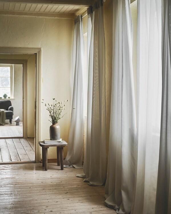 """GUNRID air purifying curtain, 1 pair light gray 98 """" 57 """" 2 lb 0 oz 39.07 sq feet 2 pack"""