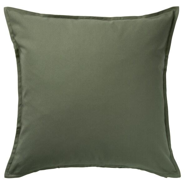 "GURLI Cushion cover, dark olive-green, 20x20 """