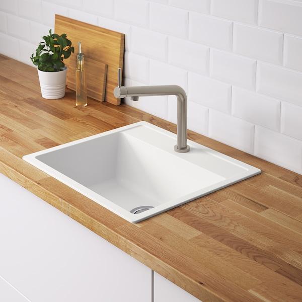 "HÄLLVIKEN sink white/quartz composite 7 1/8 "" 19 5/8 "" 13 3/4 "" 19 1/8 "" 21 1/2 "" 19 5/8 "" 22 "" 19 5/8 "" 8 gallon"