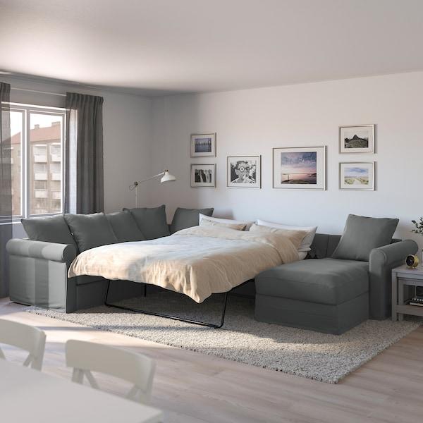 HÄRLANDA Corner sofabed, with chaise/Ljungen medium gray