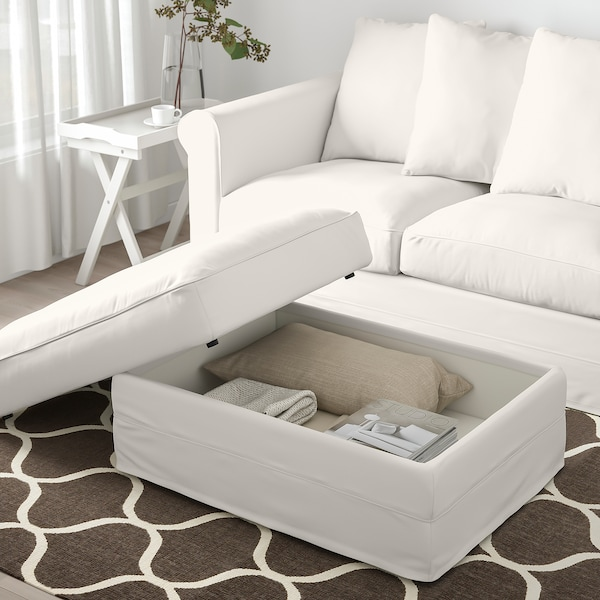 HÄRLANDA Footstool with storage, Inseros white