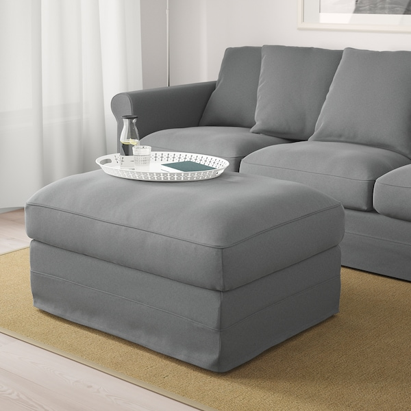 HÄRLANDA Footstool with storage, Ljungen medium gray