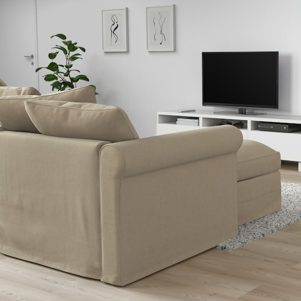 HÄRLANDA Sofabed, with chaise/Sporda natural