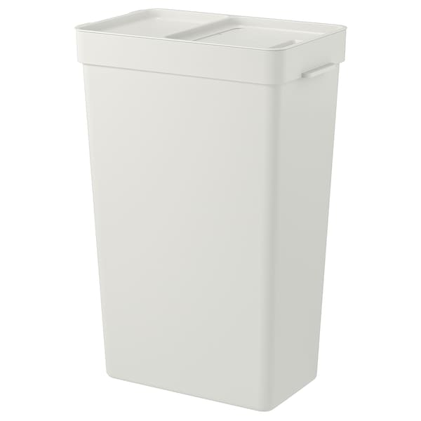 HÅLLBAR Bin with lid, light gray, 9 gallon