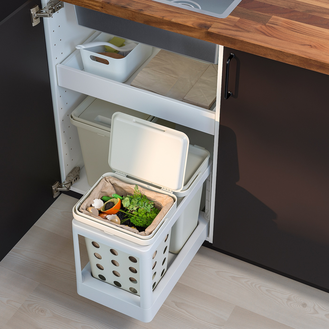 HÅLLBAR Pull-out frame for recycling - light gray
