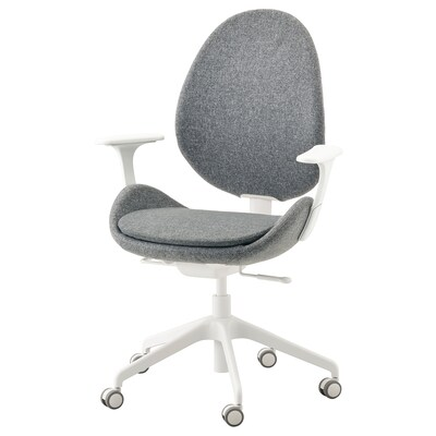 HATTEFJÄLL Office chair with armrests, Gunnared medium gray/white