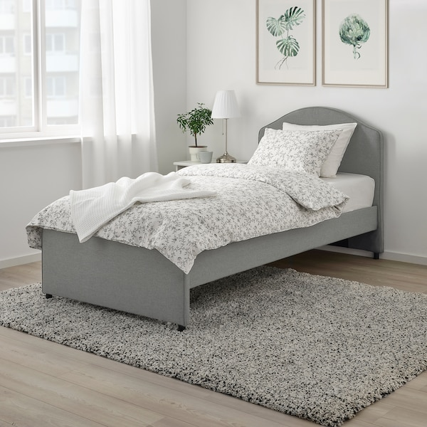 HAUGA Upholstered bed frame, Vissle gray, Twin
