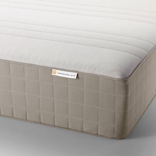 HAUGESUND Spring mattress, medium firm/dark beige, Queen