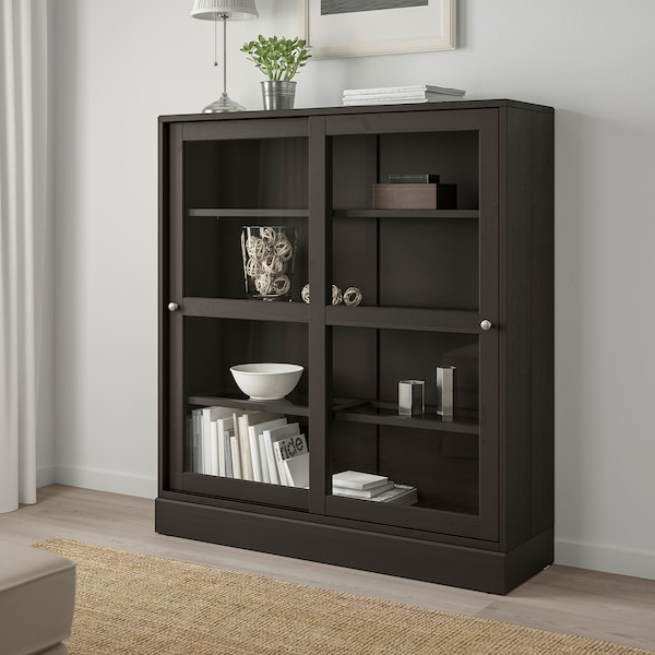 "HAVSTA glass-door cabinet with base dark brown clear glass  47 5/8 "" 14 5/8 "" 52 3/4 "" 71 lb"