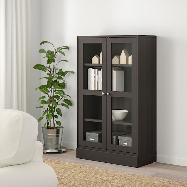 HAVSTA Glass-door cabinet with base - dark brown clear ...