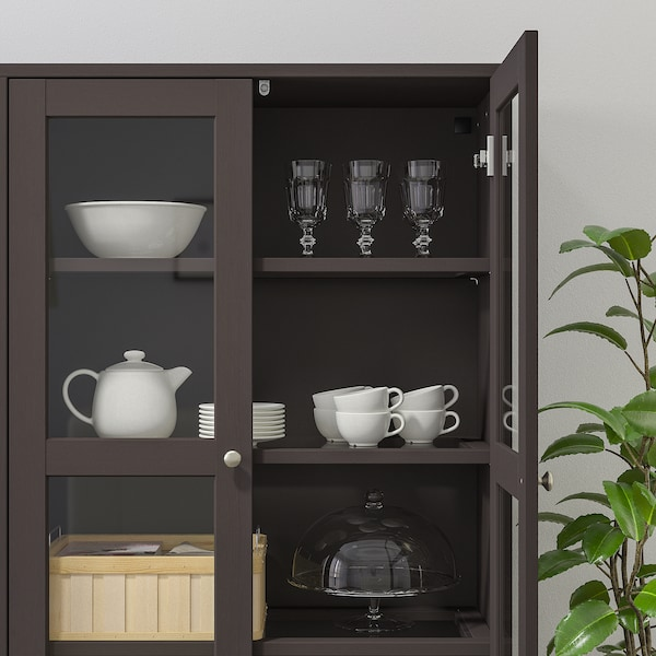 "HAVSTA storage combination w/glass doors dark brown 63 3/4 "" 14 5/8 "" 52 3/4 "" 51 lb"