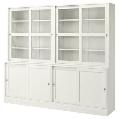 "HAVSTA Storage with sliding glass doors, white, 95 1/4x18 1/2x83 1/2 """