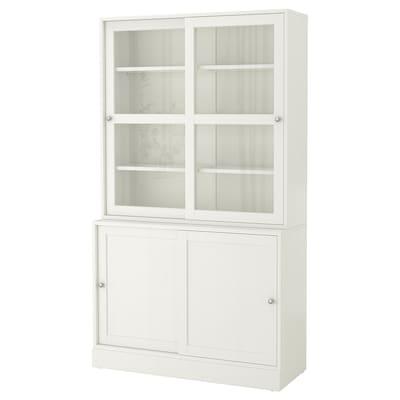 "HAVSTA Storage with sliding glass doors, white, 47 5/8x18 1/2x83 1/2 """
