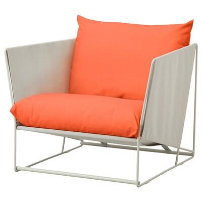 """HAVSTEN armchair, in/outdoor orange/beige 38 5/8 """" 37 """" 35 3/8 """" 24 3/8 """" 16 1/2 """""""