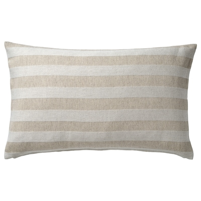 HEDDAMARIA Cushion cover, natural/striped, 16x26 ""