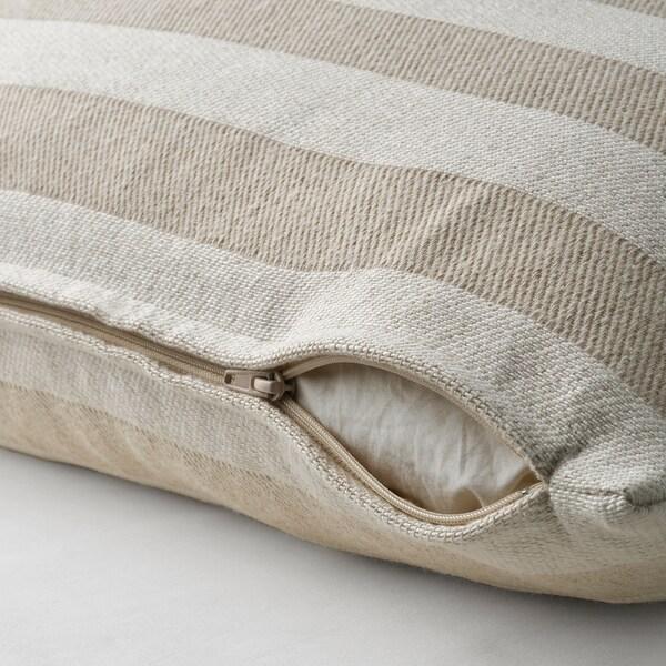 "HEDDAMARIA Cushion cover, natural/striped, 16x26 """