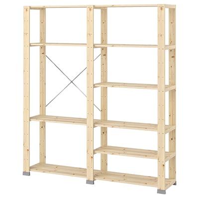 "HEJNE 2 section shelving unit, softwood, 60 5/8x12 1/4x67 3/8 """