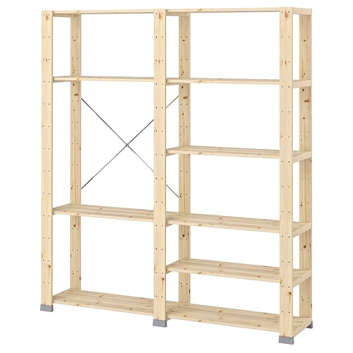 "HEJNE 2 section shelving unit softwood 60 5/8 "" 12 1/4 "" 67 3/8 "" 77 lb"