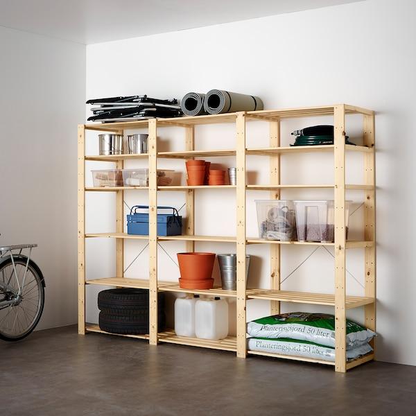 "HEJNE 3 section shelving unit, softwood, 90 1/2x19 5/8x67 3/8 """