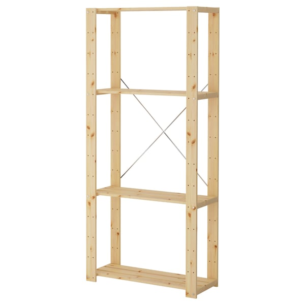"HEJNE Shelf unit, softwood, 30 3/4x12 1/4x67 3/8 """