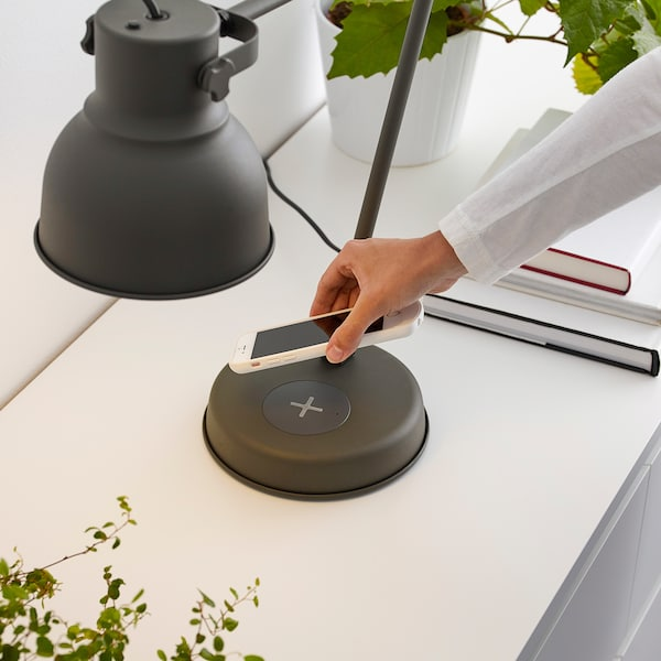 HEKTAR Work lamp with wireless charging, dark gray