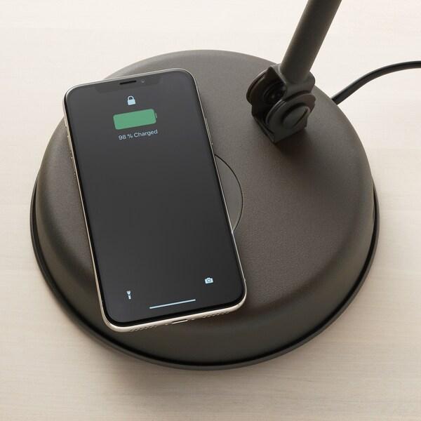 """HEKTAR work lamp with wireless charging dark gray 7 W 6 """" 7 """" 6 ' 3 """" 7.0 W"""