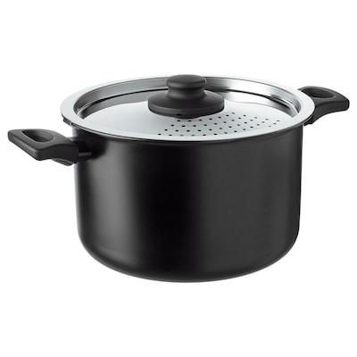 HEMLAGAD Pot with lid, black, 5.3 qt