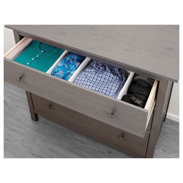 "HEMNES 3-drawer chest, dark gray stained, 42 1/2x37 3/4 """