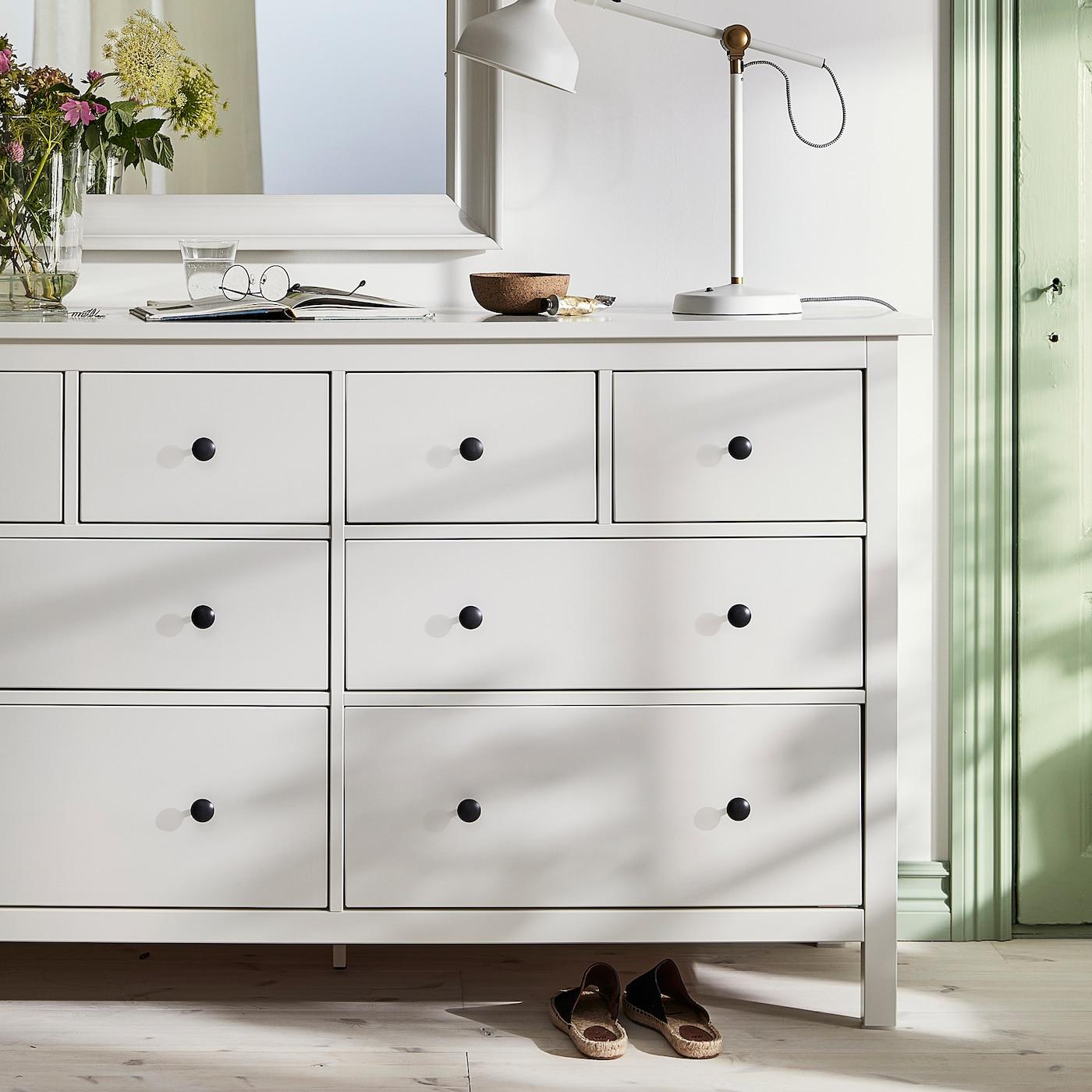 "HEMNES 8-drawer dresser, white, 63x37 3/4 """