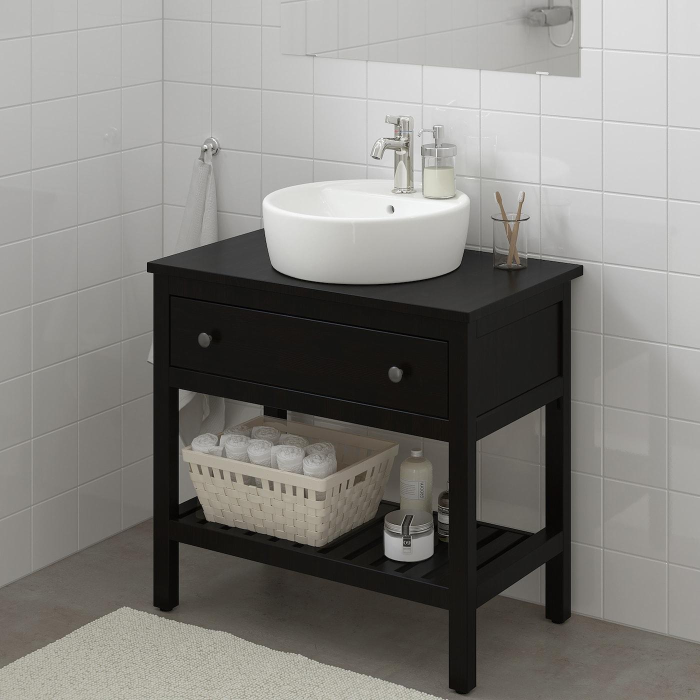 "HEMNES Bathroom vanity 9 drawer - black-brown stain 9 9/9x99 9/9x9 9/9 ""  (92x99x96 cm)"
