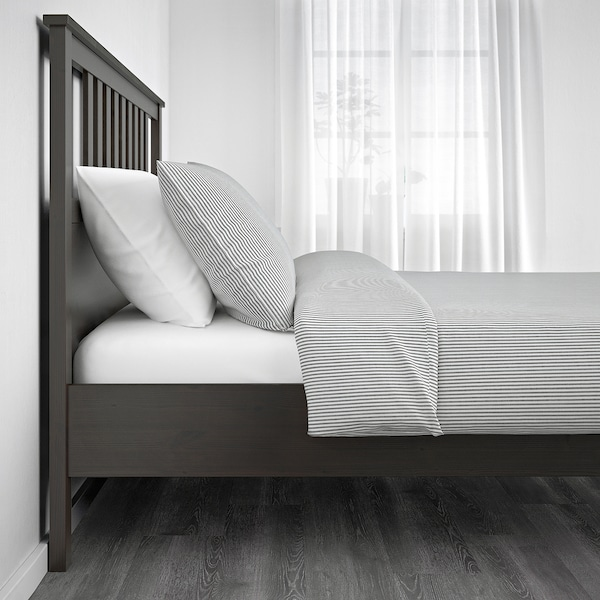 HEMNES Bed frame, dark gray stained/Luröy, Queen