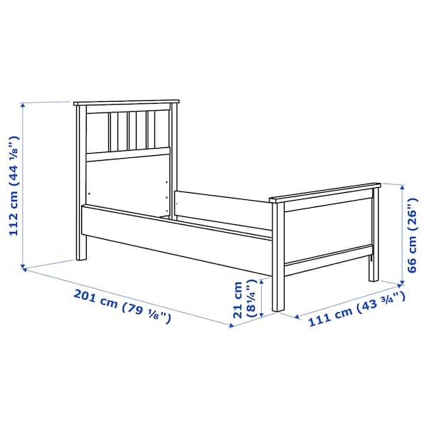 HEMNES Bed frame, white stain/Espevär, Twin