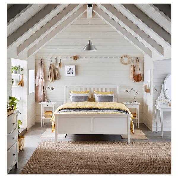 HEMNES Bed frame, white stain/Espevär, Queen
