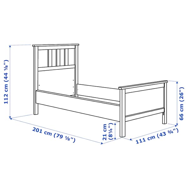 HEMNES Bed frame, white stain/Luröy, Twin