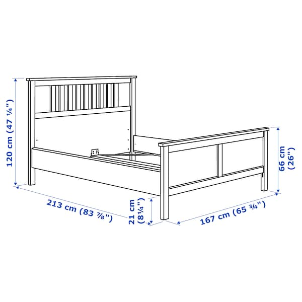 HEMNES Bed frame, white stain/Luröy, Queen