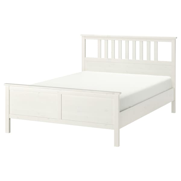 HEMNES Bed frame, white stain, Queen