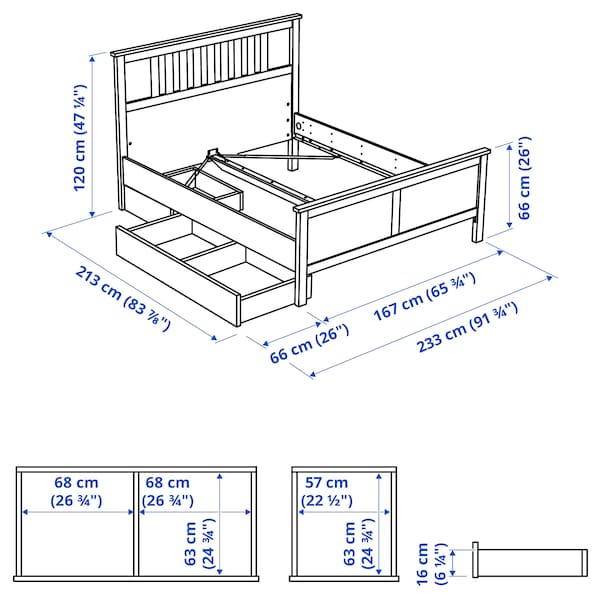 HEMNES Bed frame with 2 storage boxes, black-brown/Luröy, Queen