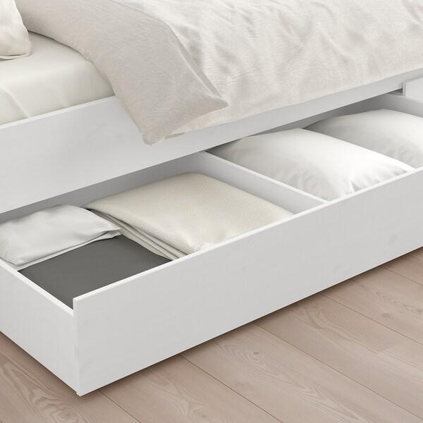 HEMNES Bed frame with 2 storage boxes, white stain/Espevär, Queen