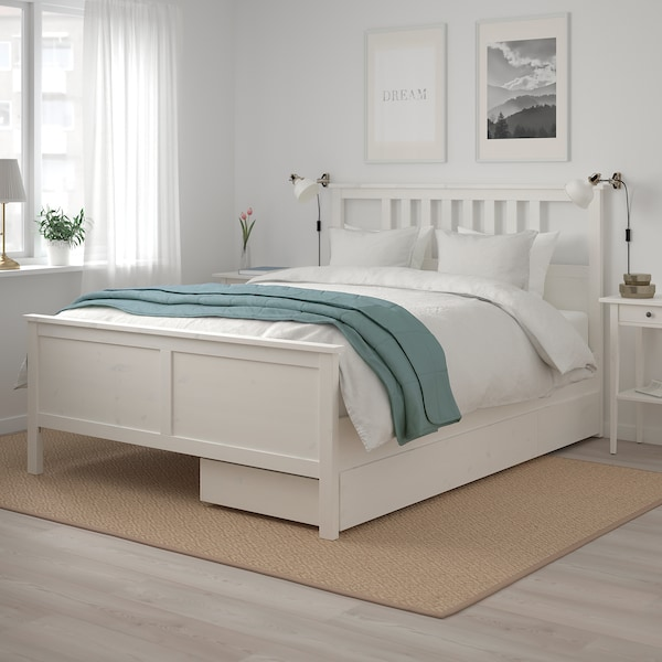 HEMNES Bed frame with 2 storage boxes, white stain/Luröy, Queen