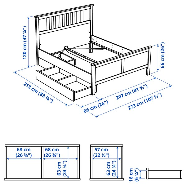 HEMNES Bed frame with 2 storage boxes, white stain/Luröy, King