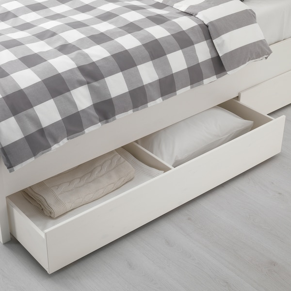 HEMNES Bed frame with 4 storage boxes, white stain/Luröy, Queen