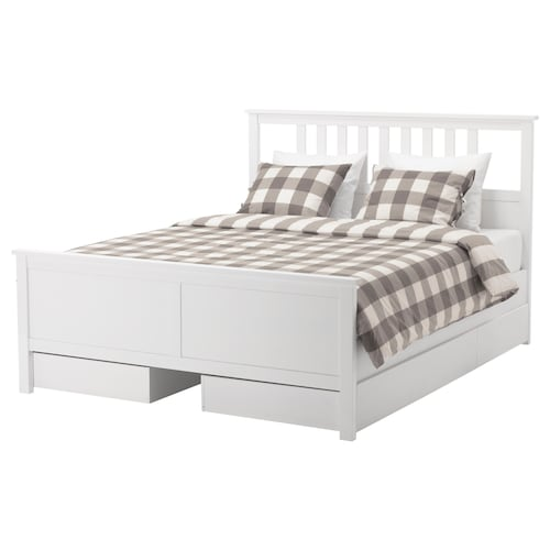 "HEMNES bed frame with 4 storage boxes white stain/Luröy 83 7/8 "" 65 3/4 "" 26 "" 47 1/4 "" 79 1/2 "" 59 7/8 """