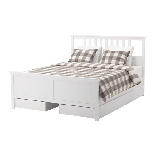 Hemnes Bed Frame With 4 Storage Boxes Queen Lur Y