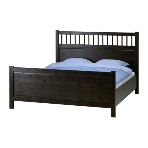 "HEMNES Bed frame, black-brown Length: 79 7/8 "" Width: 63 3/8 "" Height: 82 1/4 "" Footboard height: 27 1/8 "" Headboard height: 47 5/8 "" Mattress length: 79 1/2 "" Mattress width: 60 ""  Length: 203 cm Width: 161 cm Height: 209 cm Footboard height: 69 cm Headboard height: 121 cm Mattress length: 202 cm Mattress width: 152.4 cm"