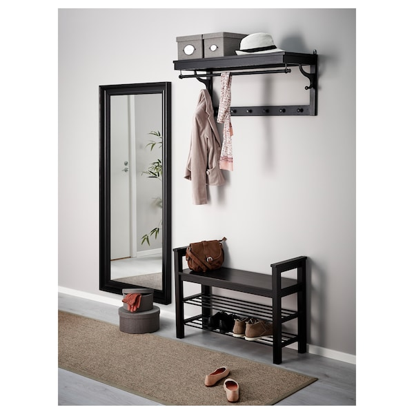 HEMNES Bench with shoe storage, black-brown, 33 1/2x12 5/8 ""