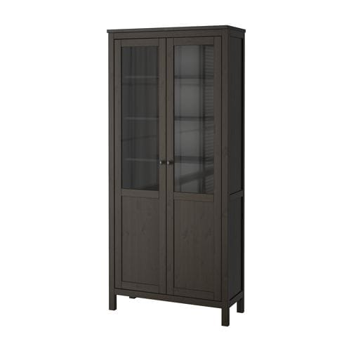 HEMNES Cabinet with panel/glass door   The door's integrated dampers enable it to close slowly, silently and softly.