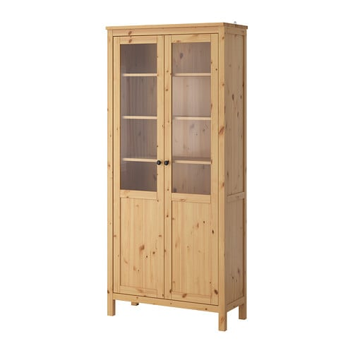 hemnes cabinet with panel glass door solid wood has a natural feel